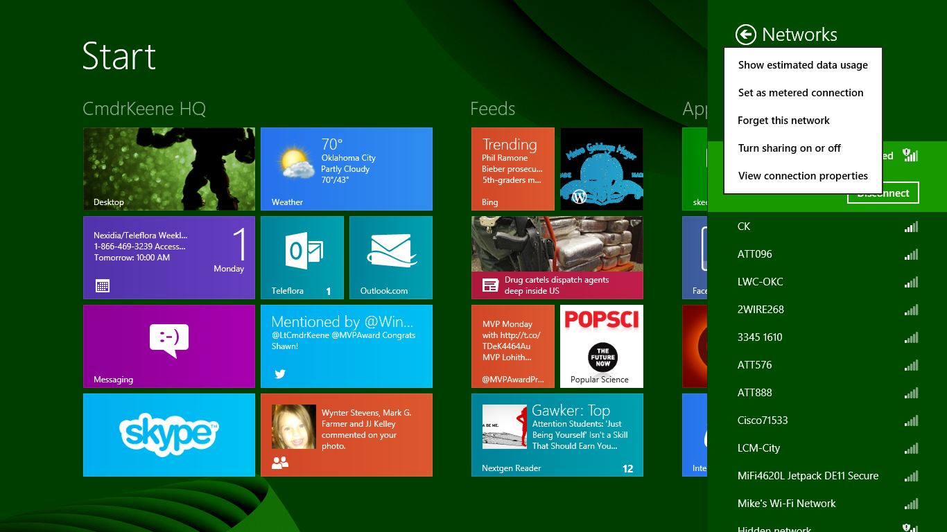 the wifi context menu in Windows 8