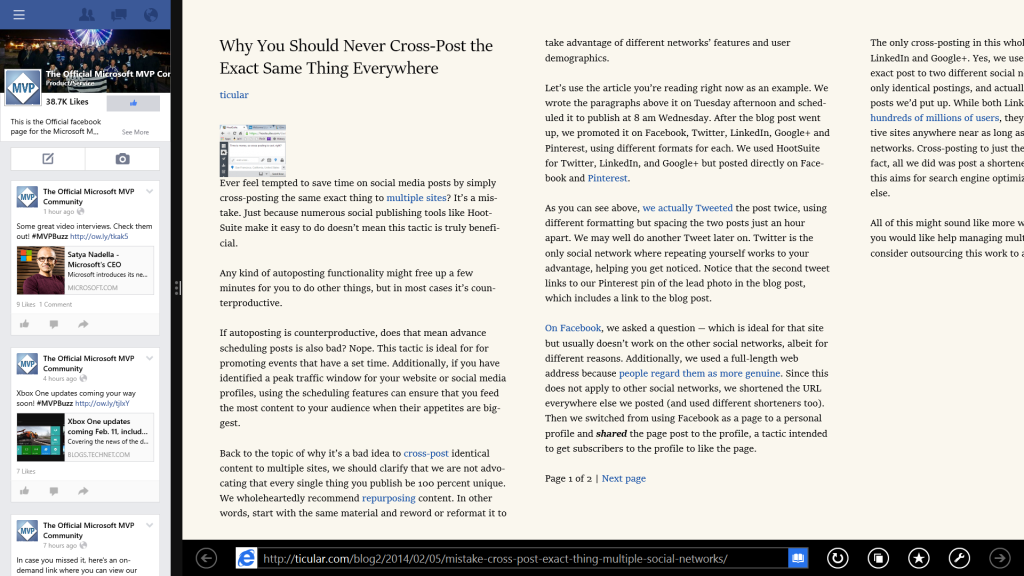 Reading mode puts text into magazine-width columns and combines multi-page articles into a single story.