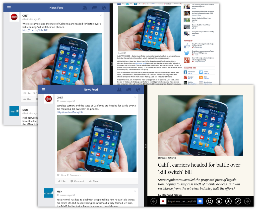 Opened article from facebook has microscopic fonts, cured with Reading Mode.