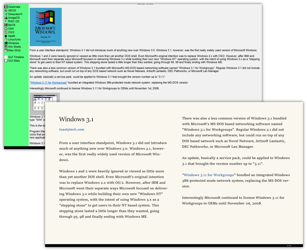 This Windows 3.1 history was difficult to read on a wide screen, but Reading Mag makes the article into an enjoyable book layout.
