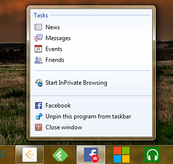 Facebook.com shortcut pinned to the Taskbar, showing an alert badge icon