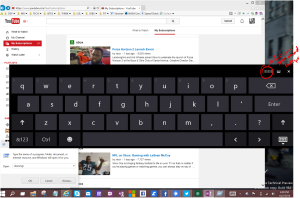 on screen keyboard with visible handle