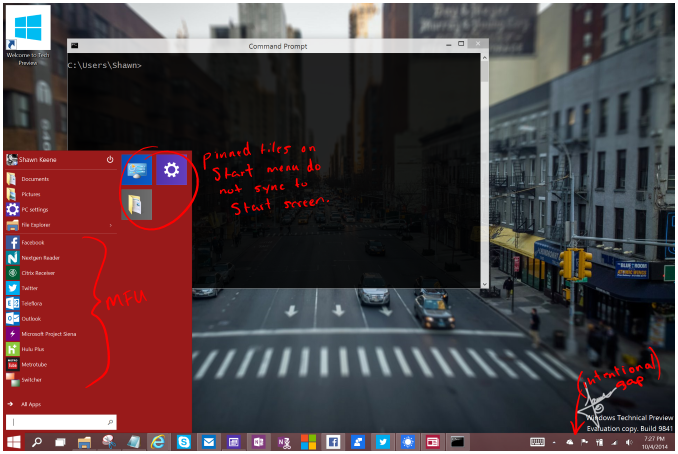 Windows 10 screenshot with notes
