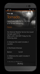 MyRadar alert text.