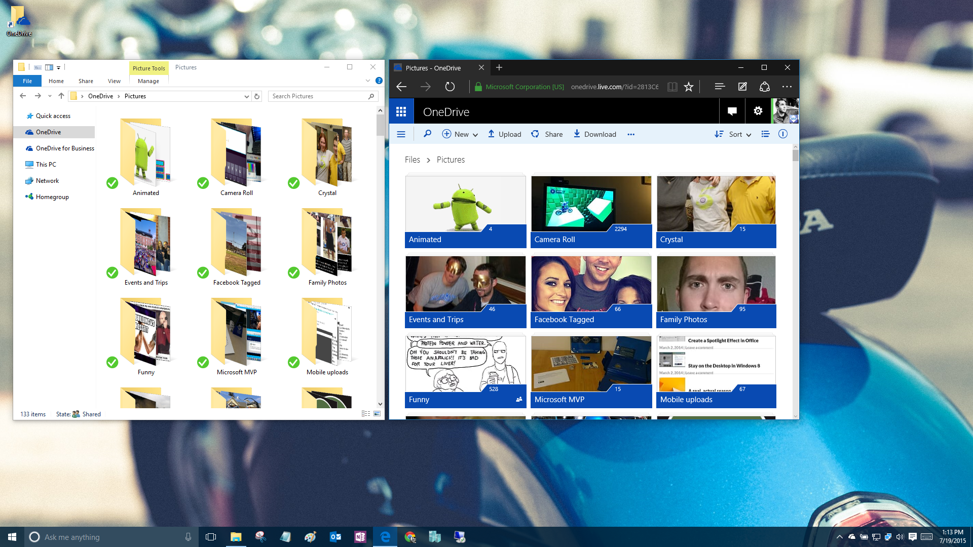 Windows 10 desktop with OneDrive local folder and OneDrive website.
