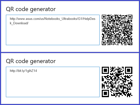 Comparison of QR codes from a full or shortened URL.