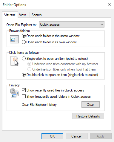 Folder Options in Windows 10