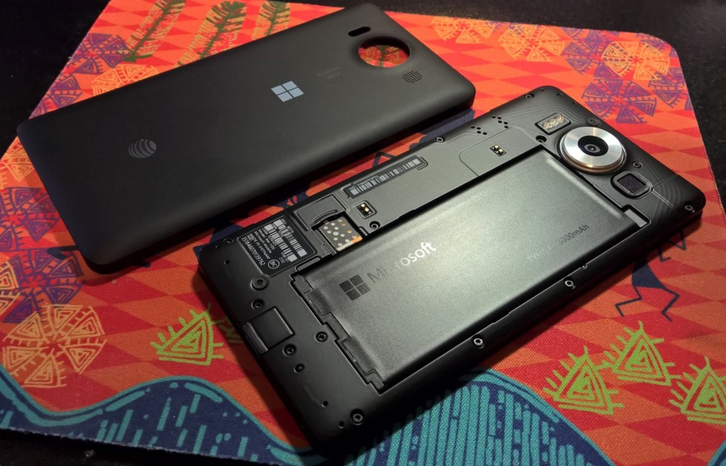 Lumia 950 with back cover removed