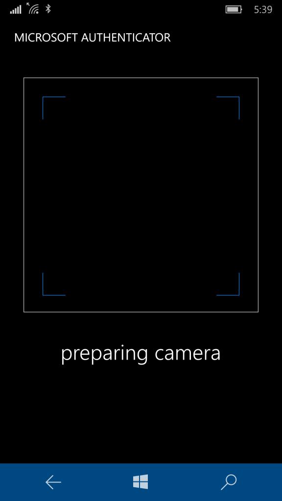 Authenticator app unable to prepare the camera.